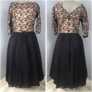 Vintage A-Line Black and Tan Lace Dress Small 1950